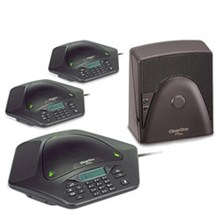 ClearOne MAX EX Corded Conference Phones clearone maxattach 3 phone system with Extra Expansion Base